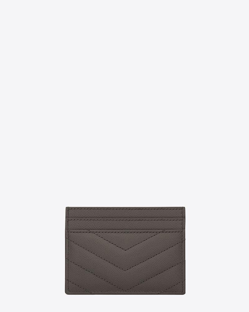 YSL - Monogram Saint Laurent Credit Card Case (Grey with Silver Hardware)
