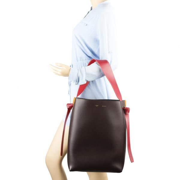Celine - Burgundy Leather and Felt Small Twisted Cabas Bag